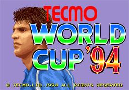 Title screen of Tecmo World Cup '94 on the Arcade.