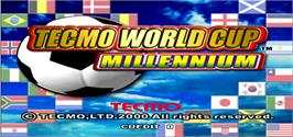 Title screen of Tecmo World Cup Millennium on the Arcade.