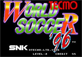 Title screen of Tecmo World Soccer '96 on the Arcade.