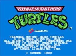 Title screen of Teenage Mutant Hero Turtles on the Arcade.