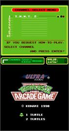 Title screen of Teenage Mutant Ninja Turtles II: The Arcade Game on the Arcade.