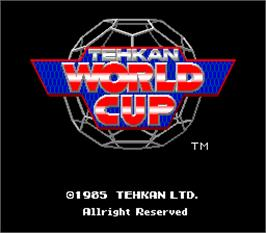 Title screen of Tehkan World Cup on the Arcade.