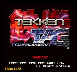 Title screen of Tekken Tag Tournament on the Arcade.