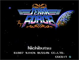 Title screen of Terra Force on the Arcade.