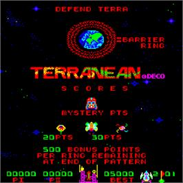 Title screen of Terranean on the Arcade.