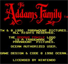 Title screen of The Addams Family on the Arcade.
