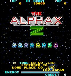 Title screen of The Alphax Z on the Arcade.