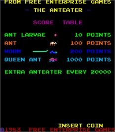 Title screen of The Anteater on the Arcade.