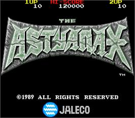 Title screen of The Astyanax on the Arcade.