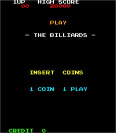 Title screen of The Billiards on the Arcade.