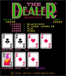 Title screen of The Dealer on the Arcade.
