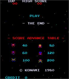Title screen of The End on the Arcade.