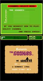 Title screen of The Goonies on the Arcade.