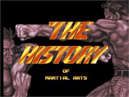 Title screen of The History of Martial Arts on the Arcade.