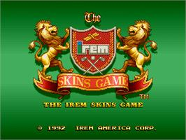 Title screen of The Irem Skins Game on the Arcade.
