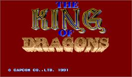 Title screen of The King of Dragons on the Arcade.