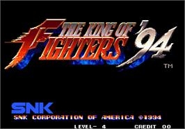 Title screen of The King of Fighters '94 on the Arcade.
