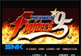 Title screen of The King of Fighters '95 on the Arcade.