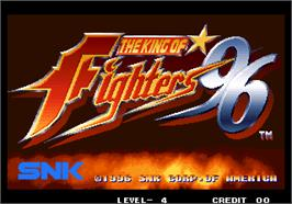 Title screen of The King of Fighters '96 on the Arcade.