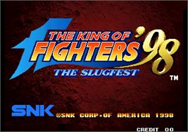 Title screen of The King of Fighters '98 - The Slugfest / King of Fighters '98 - dream match never ends on the Arcade.