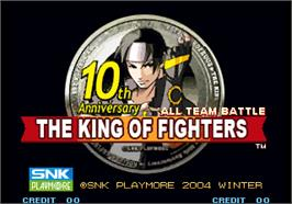 Title screen of The King of Fighters 10th Anniversary on the Arcade.