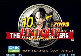 Title screen of The King of Fighters 10th Anniversary 2005 Unique on the Arcade.