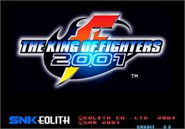 Title screen of The King of Fighters 2001 on the Arcade.