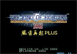 Title screen of The King of Fighters 2002 Plus on the Arcade.