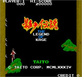 Title screen of The Legend of Kage on the Arcade.