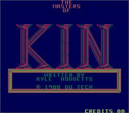 Title screen of The Masters of Kin on the Arcade.