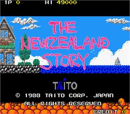 Title screen of The NewZealand Story on the Arcade.