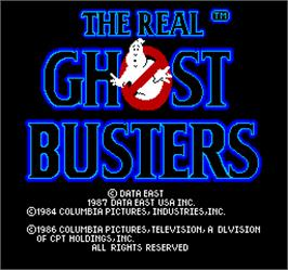 Title screen of The Real Ghostbusters on the Arcade.