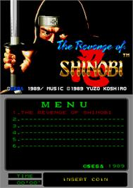 Title screen of The Revenge of Shinobi on the Arcade.