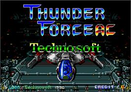 Title screen of ThunderForce AC on the Arcade.
