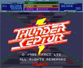 Title screen of Thunder Ceptor on the Arcade.