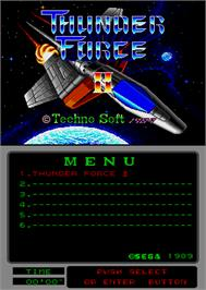 Title screen of Thunder Force II MD on the Arcade.