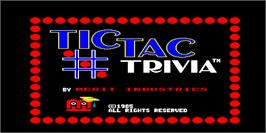 Title screen of Tic Tac Trivia on the Arcade.