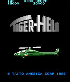 Title screen of Tiger Heli on the Arcade.