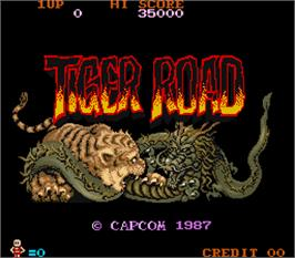 Title screen of Tiger Road on the Arcade.