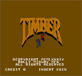 Title screen of Timber on the Arcade.