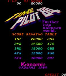 Title screen of Time Pilot '84 on the Arcade.