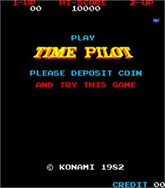 Title screen of Time Pilot on the Arcade.