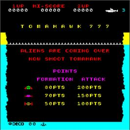 Title screen of Tomahawk 777 on the Arcade.