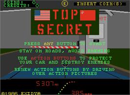 Title screen of Top Secret on the Arcade.