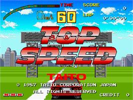 Title screen of Top Speed on the Arcade.