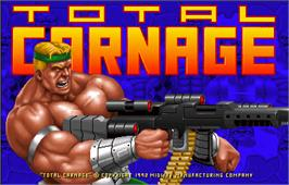Title screen of Total Carnage on the Arcade.