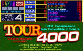 Title screen of Tour 4000 on the Arcade.