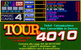Title screen of Tour 4010 on the Arcade.