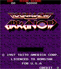 Title screen of Tournament Arkanoid on the Arcade.