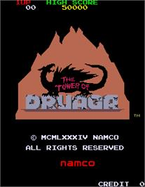 Title screen of Tower of Druaga on the Arcade.